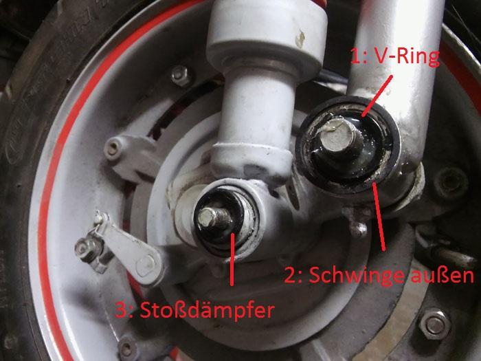 Gummis Schwinge O-Ringe Vespa V50 Position