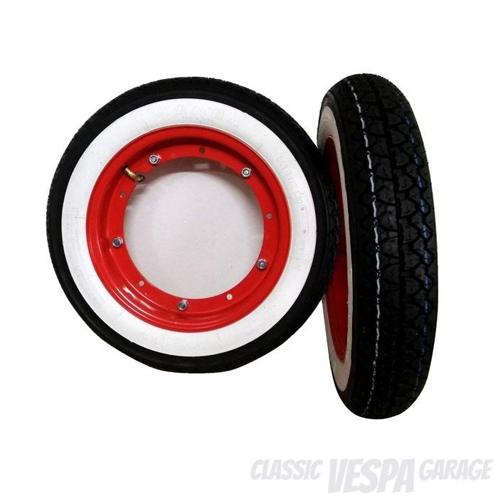 Vespa Radsatz Reifen Felgen Hot Rod Custom Style Weisswand rote Felgen