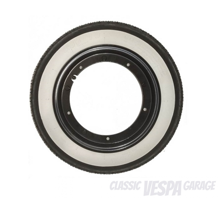 Vespa Radsatz Reifen Felgen Al Capone Style Weisswand schwarze Felgen